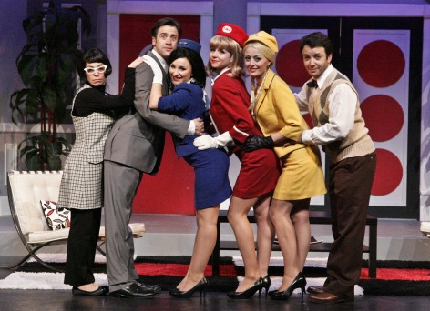 "The cast of La Mirada's ""Boeing-Boeing"": l.to r. - Michelle Azar, Carter Roy, Kalie Quinones, Melanie Lora, Amy Rutberg and Marc Valera"