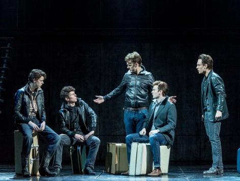 "Dan Westwick (as George Harrison), Oliver Bennett (Pete Best), Andrew Knott (John Lennon), Daniel Healy (Paul McCartney) and Nick Blood (Stuart Sutcliffe) in ""Backbeat,"" now at the Ahmanson (photo by Craig Schwartz)"