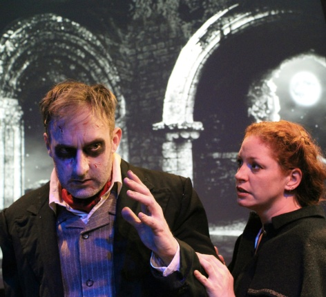 """JR Reed is the zombie title character, avoiding Maia Peters in """"Von Bach"""" at Fremont Centre Theatre"""