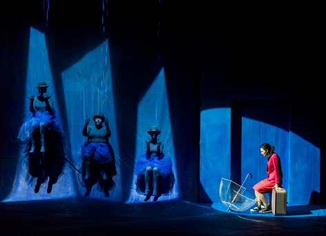 """L to R: Kelly Ehlert, Abigail Marks, Jessie Losch, and Jules Willcox  in """"Eurydice"""" at A Noise Within"""