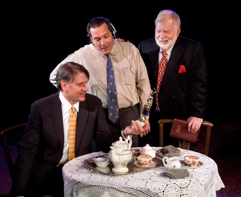 "The cast of ""God's Man in Texas"" consult over tea at Sierra Madre Playhouse"