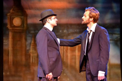 "Blake Walker (as Father Brown) and Brandon Parrish in ""The Innocence of Father Brown"" at Fremont Centre Theatre [photo: Ellie Roth]"