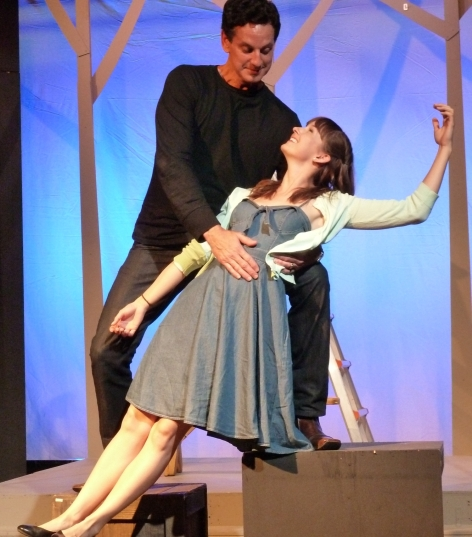 "Michael Anthony as El Gallo, and Kelsey Hainlen as The Girl in a rehearsal shot from Sierra Madre Playhouse's ""The Fantasticks"" [photo: Ward Calaway]"