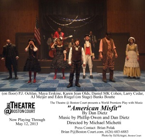 "The cast of ""American Misfits"" at Boston Court"