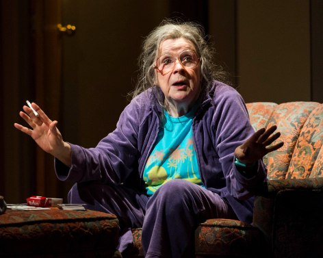 "Marylouise Burke explains the future in ""A Parallelogram"" at the Mark Taper Forum [photo: Craig Schwartz]"