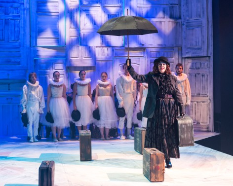 Deborah Strang, as Gower, and her chorus as narrators in Pericles at A Noise Within [photo: Craig Schwartz]