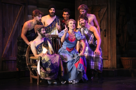 "Stacy Huntington as new bride Milly starts cleaning up the boys in ""Seven Brides for Seven Brothers"" at Candlelight Pavilion"