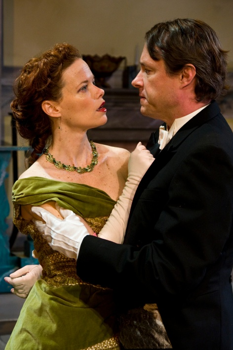 "The evil Mrs. Cheveley (Ann Noble) meets her match in Lord Goring (Michael Matthys) in ""An Ideal Husband"" at Sierra Madre Playhouse  [photo: Geoffrey Wade]"
