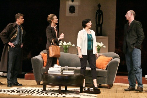 "Jamison Jones, Amy Sloan, Maura Vincent and Hugo Armstrong in McCoy Rigby Entertainment production of ""God of Carnage  [photo: Michael Lamont]"