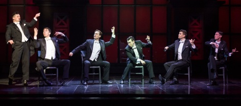 "(L-R): Will Blum, Douglas Williams, Will Taylor, Matt Bailey, Shayne Kennon and Chris Dwan in""Harmony,"" a new musical, with music by Barry Manilow and book and lyrics by Bruce Sussman. [Photo: Craig Schwartz]"