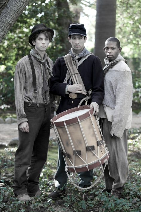 "James Semenc, David Craine and Donzell Lewis the drummers in one of the multiple casts of ""Battledrum"" in Sierra Madre [photo: Gina Long]"