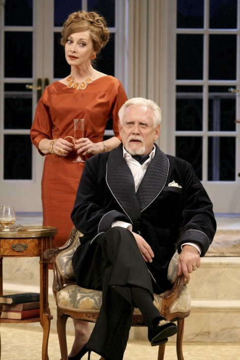 """Sharon Lawrence and Bruce Davison spar in """"A Song at Twilight"""" at the Pasadena Playhouse [photo: Michael Lamont]"""