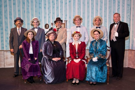 "The cast of ""Charley's Aunt"" at Whittier Community Theatre, in a period-style portrait"