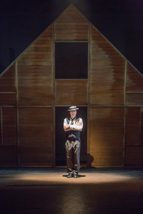 "French Stewart as Buster Keaton waiting for the house to fall in ""Stoneface"" [photo: Jim Cox]"