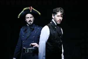 Randall Dodge as Javert and James Barbour as Jean Valjean [photo: Michael Lamont]