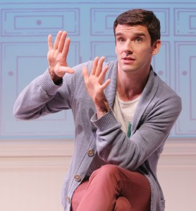 Michael Urie as the storyteller in Jonathan Tolins' monologue about a struggling actor's fantasy job for Barbra Streisand [photo: Joan Marcus]