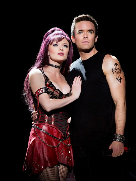 "Ruby Lewis and Brian Justin Crum lead the cast of ""We Will Rock You,"" the Queen musical at the Ahmanson [photo: Paul Kolnik]"