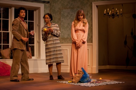 "Jeremy Guskin (l.) and Lena Bouton (r.) deal with Lynndi Scott as the lady across the hall in ""6 Rms Riv Vu"" in Sierra Madre [photo: Gina Long]"