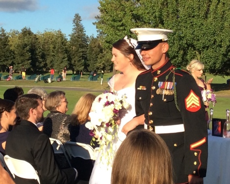 My daughter, Mary and her new husband Sgt. John White, laughing as they leave their wedding. Lovely day!