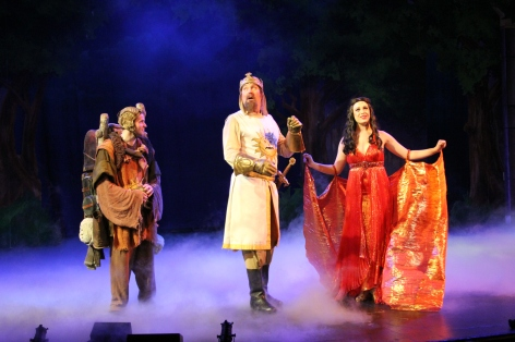 "Adam Trent, Raymond Ingram and Chelsea Emma Franko in ""Spamalot"" [photo: John LaLonde]"