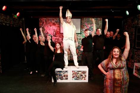 The cast of Pope! The Epic Musical, being epic