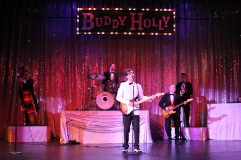 "Buddy Holly and the Crickets perform in ""Buddy: The Buddy Holly Story"" at the Candlelight Pavilion Dinner Theater in Claremont"
