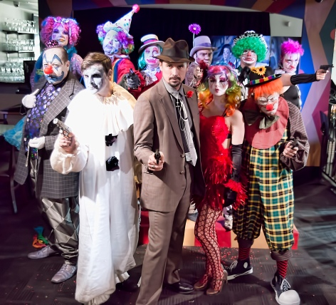 "The cast of ""Clown Bar"" and the seedy underbelly of clown life, at redwhite+bluezz in Pasadena"