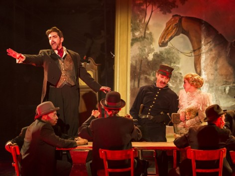 "Andrew Ableson, as Macheath, celebrates his wedding in A Noise Within's ""The Threepenny Opera"" [photo: Craig Schwartz]"