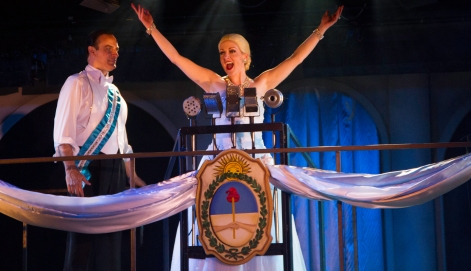 "Laura Dickinson is ""Evita"", as John LaLonde's Juan Peron looks on, at the Candlelight Pavilion [photo: Adam Trent]"