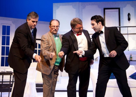 "The men of Whittier Community Theatre's ""Rumors"" use hand games to try to cope with one very odd anniversary party"