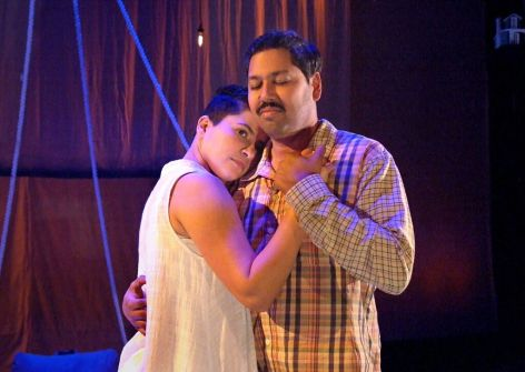 Monika Jolly and Dileep Rao as Shiv and her father, in Aditi Brennan Kapil's