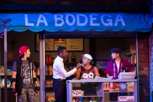 Chris Marcos as Graffiti Pete, Revel Day as Benny, Ruben Bravo as Sonny, and Ruben J. Carbajal as Usnavi [photo: Demetrios Katsantonis]