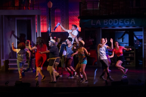 "The cast of ""In the Heights"" celebrates life at Candlelight Pavilion [photo:  Demetrios Katsantonis]"