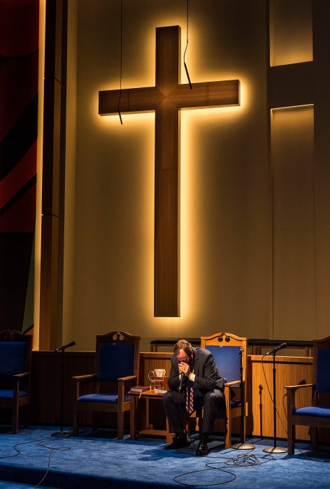 "Andrew Garman in ""The Christians"" at the Center Theatre Group/Mark Taper Forum. [Photo: Craig Schwartz]"