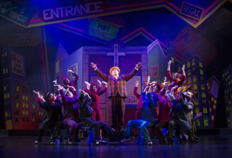 """Robert Hoyt as Nicely-Nicely Johnson leads a rollicking """"Sit Down, You're Rockin' the Boat"""" in Candlelight Pavilion's """"Guys and Dolls"""" [photo: Demetrius Kastantonis]"""