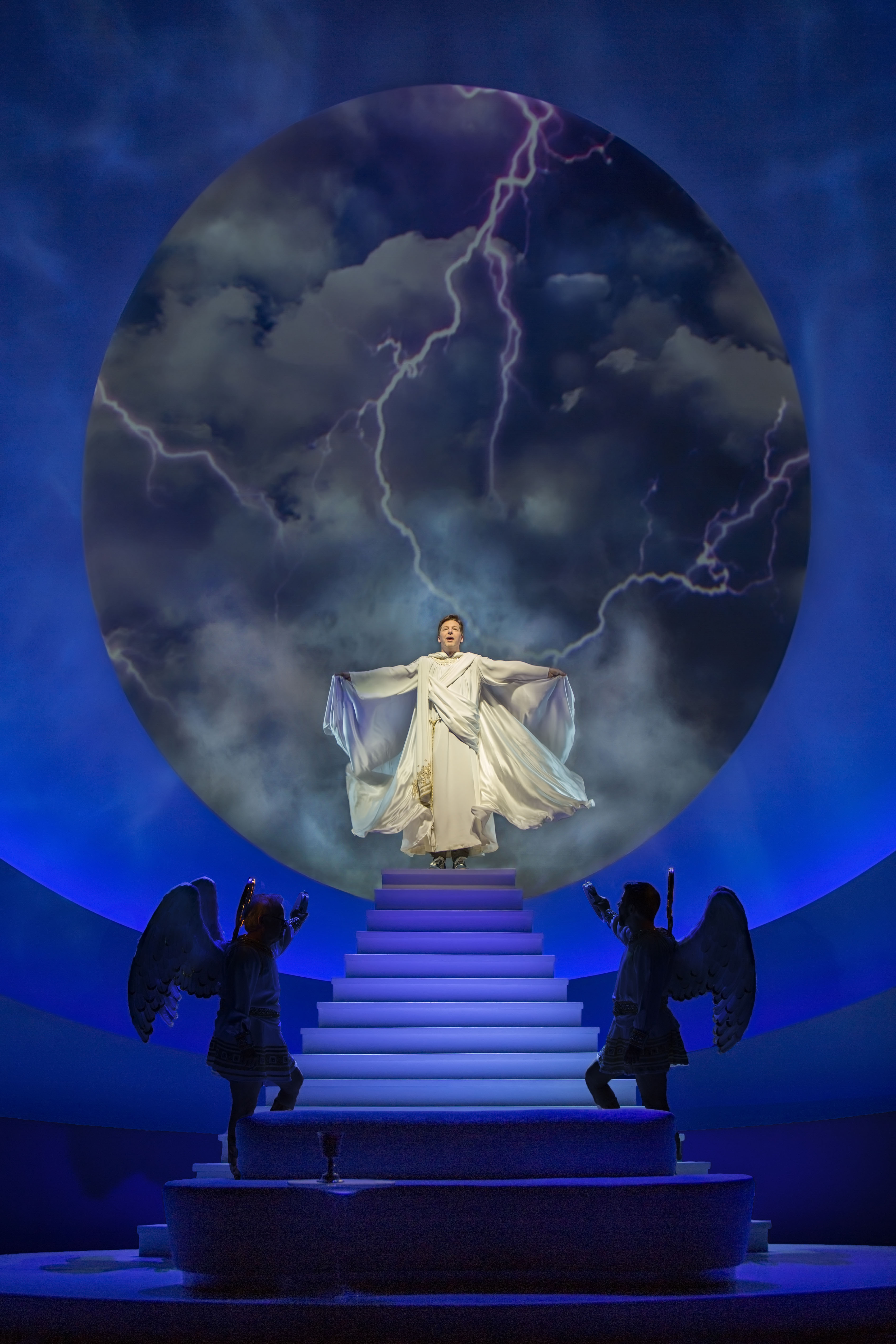 """Sean Hayes (center) certainly knows how to make an entrance, with James Gleason (L) and David Josefsberg (R) in """"An Act of God. [Photo: Jim Cox]"""