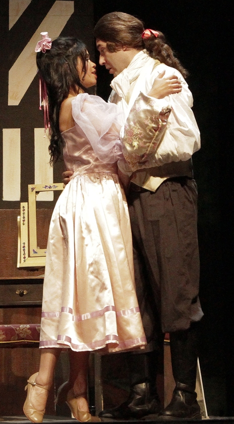 "Chelsea Caracoza and Jay Miramontes, as thwarted lovers in Whittier Community Theatre's ""Tom Jones"""