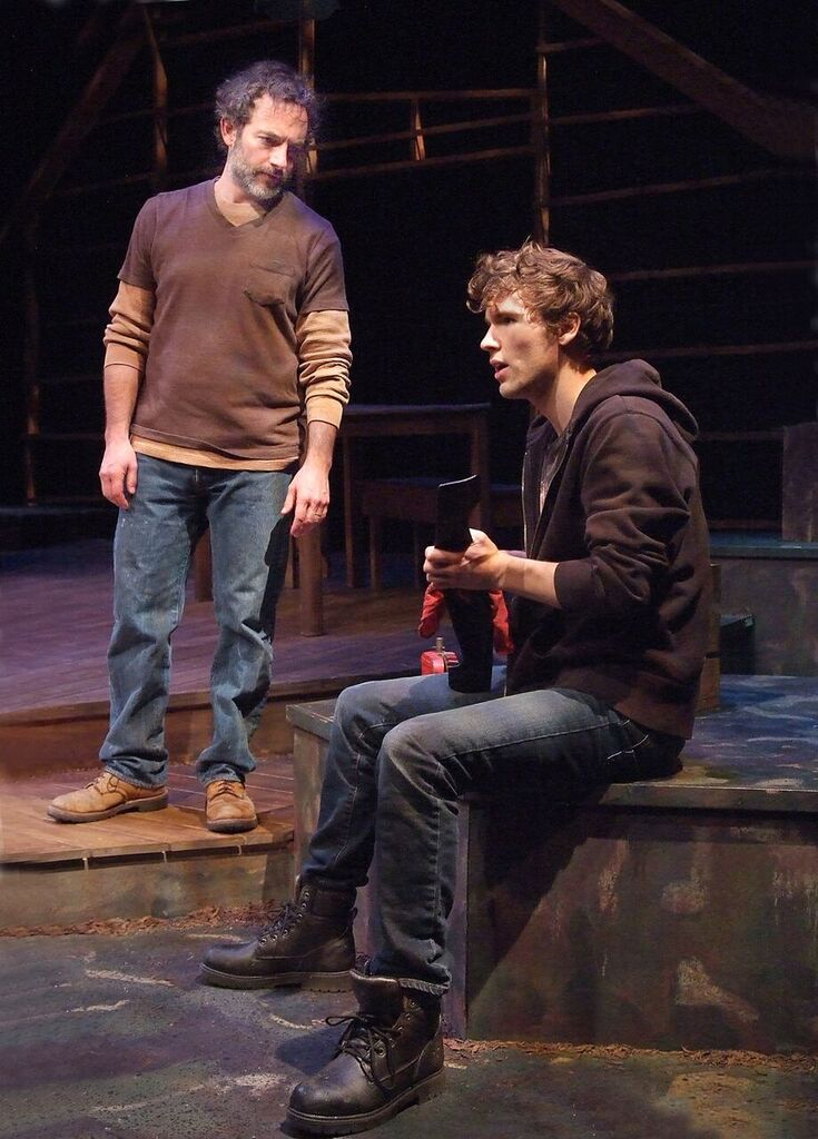 "Chris Connor and Riley Neldam as the distanced father and son in ""Colony Collapse"" at The Theatre at Boston Court [photos: Ed Krieger]"