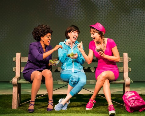 "L-R: Dinora Z. Walcott, Lisa Banes and Nora Kirkpatrick in ""Women Laughing Alone With Salad."" [Photo: Craig Schwartz]"