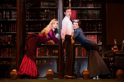 "(L-R)  Kristen Beth Williams as Sibella Hallward, Kevin Massey as Monty Navarro and Adrienne Eller as Phoebe D'Ysquith in perhaps the funniest scene from ""A Gentleman's Guide to Love & Murder."" [Photo: Joan Marcus]"