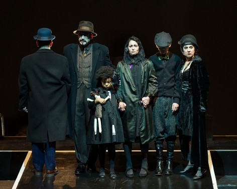 The Six Characters: Rafael Goldstein (The Son, in the ridiculed bowler hat), Geoff Elliott (The Father), Rigel Blue Pierce-English (The Young Daughter), Abby Craden (The Mother), Jack Elliott (The Young Son), and Alison Elliott (The Stepdaughter). [Photo: Craig Schwartz]