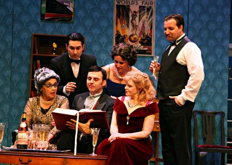 "Members of the cast of WTC's ""The Game's Afoot"" commune over a mystery [photo: Avis Photography]"
