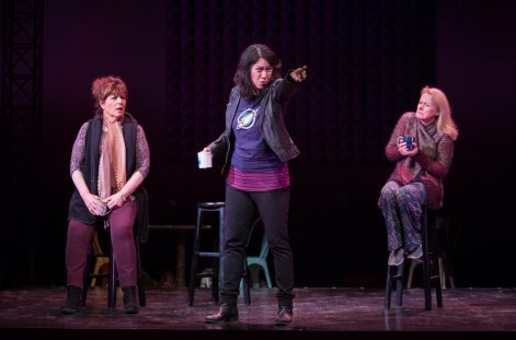 Caroline Aaron, Sandra Tsing Loh and Shannon Holt in Madwoman In The Volvo at The Pasadena Playhouse. [Photo: Jim Cox Photography]