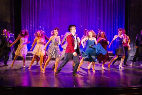 "The cast of Candlelight Pavilion's ""Footloose"" celebrates victory"