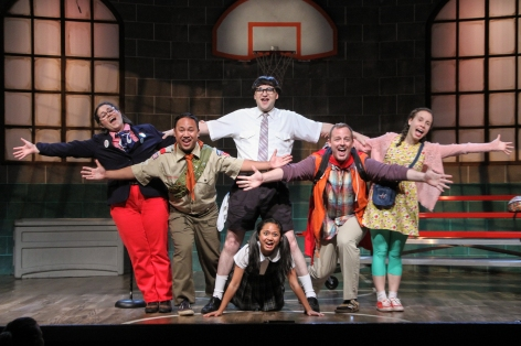 "The ""kids"" celebrate competing in ""The 25th Annual Putnam County Spelling Bee"" at Sierra Madre Playhouse"