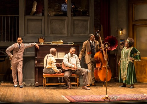 "L-R: Jason Dirden, Glynn Turman, Damon Gupton, Keith David and Lillias White in August Wilson's ""Ma Rainey's Black Bottom,"" directed by Phylicia Rashad.  [Photo: Craig Schwartz]"