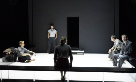 "L-R: Catherine Combs (obscured), Dave Register, Alex Esola, Andrus Nichols (obscured), Frederick Weller and Thomas Jay Ryan in the Young Vic production of ""A View From the Bridge at the Ahmanson Theatre. [Photo: Jan Versweyveld]"