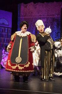 John Scoggins as Cogsworth and Eric Cajiuat as Lumiere keep the comedy going [photo: Avis Photography]