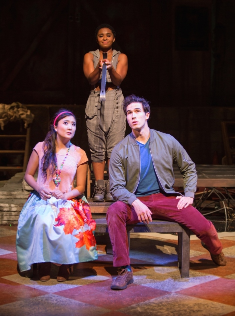 Ashley Park, Alyse Rockett and Conor Guzmán in The Fantasticks at The Pasadena Playhouse. [Photo: Jim Cox Photography]