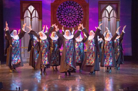 "The nuns of ""Sister Act"" show off their new sense of spectacle in the production at Candelight Pavilion [photo: Demetrios Katsantonis]"